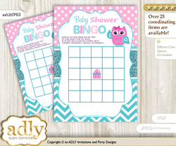Printable Pink Owl Bingo Game Printable Card for Baby Girl Shower DIY grey, Pink, Teal