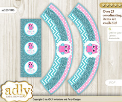 Printable Girl Owl Cupcake, Muffins Wrappers plus Thank You tags for Baby Shower Pink, Teal