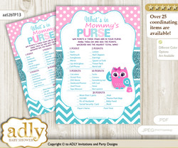 Girl Owl What is in Mommy's Purse, Baby Shower Purse Game Printable Card , Pink,  Teal