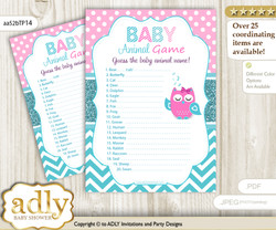 Printable Girl Owl Baby Animal Game, Guess Names of Baby Animals Printable for Baby Owl Shower, Pink, Teal