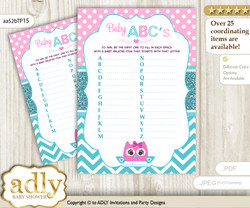 Girl Owl Baby ABC's Game, guess Animals Printable Card for Baby Owl Shower DIY – Teal