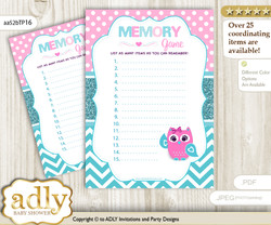 Girl Owl Memory Game Card for Baby Shower, Printable Guess Card, Pink, Teal