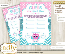 Girl Owl Dirty Diaper Game or Guess Sweet Mess Game for a Baby Shower Pink, Teal