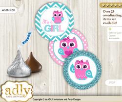 Printable  Girl Owl Candy Kisses for Baby Girl Shower DIY Pink , Teal