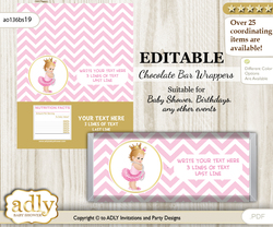 Personalizable Princess Girl Chocolate Bar Candy Wrapper Label for Princess  baby shower, birthday Chevron , Chevron