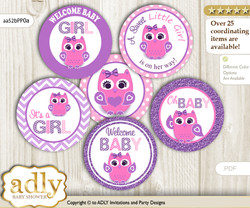 Baby Shower Girl Owl Cupcake Toppers Printable File for Little Girl and Mommy-to-be, favor tags, circle toppers, Glitter, Purple Pink