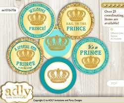 Baby Shower Prince Royal Cupcake Toppers Printable File for Little Prince and Mommy-to-be, favor tags, circle toppers, Gold, Aqua