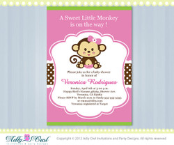 Pink Lime Green Girl Monkey Jungle Monkeys Baby Shower Printable DIY party invitation for girl in pink, brown, green - Instant Download