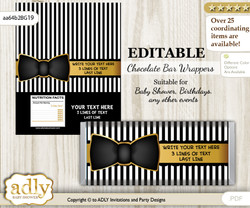 Personalizable Boy Bow Tie Chocolate Bar Candy Wrapper Label for Boy  baby shower, birthday Black Gold , Stripes