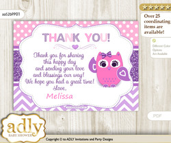 Owl Thank you Printable Card with Name Personalization for Baby Shower
