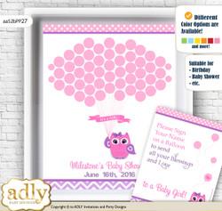 Girl Owl Guest Book Alternative for a Baby Shower, Creative Nursery Wall Art Gift, Purple Pink, Glitter