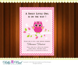 Personalized Girl Owl Baby Shower Printable DIY party invitation - ONLY digital file