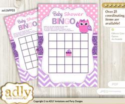 Printable Purple Pink Owl Bingo Game Printable Card for Baby Girl Shower DIY grey, Purple Pink, Glitter
