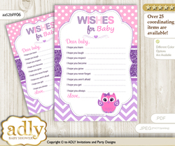 Girl Owl Wishes for a Baby, Well Wishes for a Little Owl Printable Card, Glitter, Purple Pink