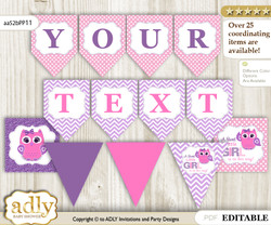 Personalized Girl Owl Printable Banner for Baby Shower, Purple Pink, Glitter