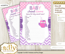 Printable Girl Owl Baby Animal Game, Guess Names of Baby Animals Printable for Baby Owl Shower, Purple Pink, Glitter