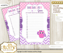Girl Owl Memory Game Card for Baby Shower, Printable Guess Card, Purple Pink, Glitter