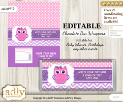 Personalizable Girl Owl Chocolate Bar Candy Wrapper Label for Girl  baby shower, birthday Purple Pink , Glitter