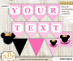 Personalized Minnie Mouse Printable Banner for Baby Shower, Pink Gold, Princess