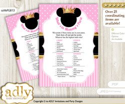 Minnie Mouse What is in Mommy's Purse, Baby Shower Purse Game Printable Card , Pink Gold,  Princess