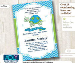 Personalized Boy Turtle Baby Shower Printable DIY Card, mod turtle, dragonfly,it's a boy, chevron