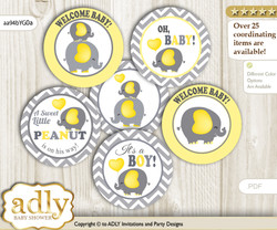 Baby Shower Peanut Elephant Cupcake Toppers Printable File for Little Peanut and Mommy-to-be, favor tags, circle toppers, Chevron, Yellow Grey