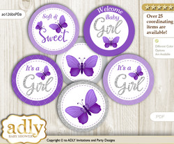Baby Shower Girl Butterfly Cupcake Toppers Printable File for Little Girl and Mommy-to-be, favor tags, circle toppers, Purple, Silver