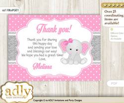 Girl Elephant Thank you Printable Card with Name Personalization for Baby Shower or Birthday
