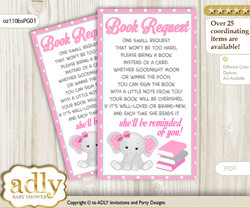 Request a Book Instead of a Card for Girl Elephant Baby Shower or Birthday, Printable Book DIY Tickets, Polka, Pink Grey