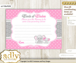 Pink Grey Girl Elephant Words of Wisdom or an Advice Printable Card for Baby Shower, Polka