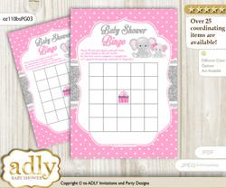 Printable Pink Grey Elephant Bingo Game Printable Card for Baby Girl Shower DIY grey, Pink Grey, Polka