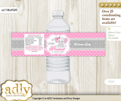 Girl Elephant Water Bottle Wrappers, Labels for a Elephant  Baby Shower, Pink Grey, Polka