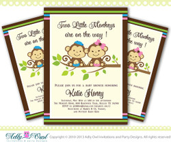 Twin Doubles Monkeys Personalized Brown, Blue, Pink Twins Monkey Baby Shower Printable DIY party invitation