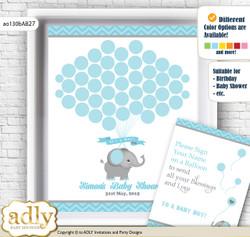 Peanut Elephant Guest Book Alternative for a Baby Shower, Creative Nursery Wall Art Gift, aqua grey, Chevron