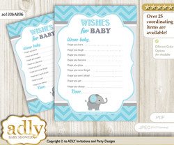 Peanut Elephant Wishes for a Baby, Well Wishes for a Little Elephant Printable Card, Chevron, aqua grey