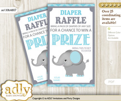 Peanut Elephant Diaper Raffle Printable Tickets for Baby Shower, aqua grey, Chevron