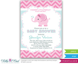 Aqua Pink Elephant Baby Shower Printable DIY party invitation for girl, chevron, pink, aqua, mint, turquoise - Instant Download