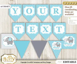 Personalized Peanut Elephant Printable Banner for Baby Shower, aqua grey, Chevron