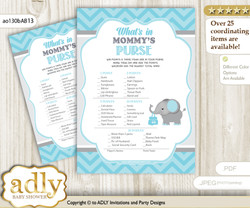 Peanut Elephant What is in Mommy's Purse, Baby Shower Purse Game Printable Card , aqua grey,  Chevron