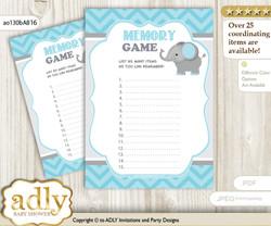 Peanut Elephant Memory Game Card for Baby Shower, Printable Guess Card, aqua grey, Chevron