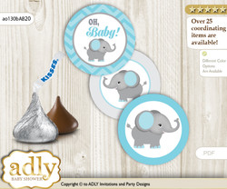 Printable  Peanut Elephant Candy Kisses for Baby Peanut Shower DIY aqua grey , Chevron