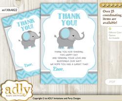 Peanut  Elephant Thank you Cards for a Baby Peanut Shower or Birthday DIY aqua grey, Chevron