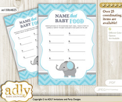 Peanut Elephant Guess Baby Food Game or Name That Baby Food Game for a Baby Shower, aqua grey Chevron
