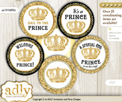 Baby Shower Prince Cupcake Toppers Printable File for Little Prince and Mommy-to-be, favor tags, circle toppers, Glitter, Gold Black