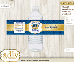 King  Water Bottle Wrappers, Labels for a Baby Shower, Blue Gold, Royal
