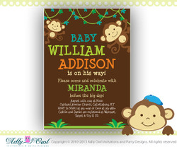 Brown Jungle Boy Monkey Baby Shower Printable DIY party invitation, with baby name - Instant Download