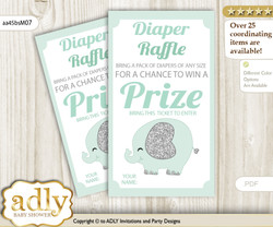 Boy Elephant Diaper Raffle Printable Tickets for Baby Shower, Mint, Silver