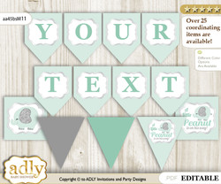 Personalized Boy Elephant Printable Banner for Baby Shower, Mint, Silver