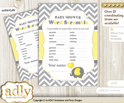 Peanut Elephant Word Scramble Game for Baby Shower n