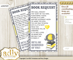 Request a Book Instead of a Card for Peanut Elephant Baby Shower or Birthday, Printable Book DIY Tickets, Chevron, Yellow Grey